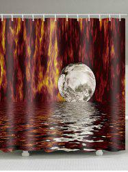 Unique Moon Print Waterproof Shower Curtain -