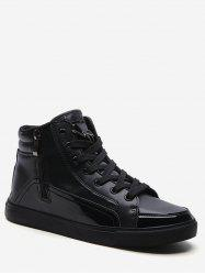 PU Leather Panel High Top Sneakers -