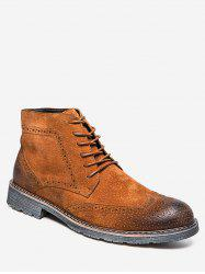 Retro Lace Up Suede Wing Tip Boots -