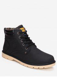 PU Leather Sewing Flat Short Boots -
