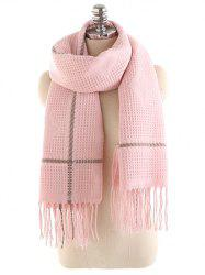 Winter Rhombus Fringed Long Scarf -