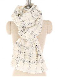 Vintage Plaid Pattern Fringed Long Scarf -