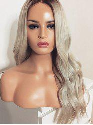 Long Center Parting Ombre Wavy Synthetic Wig -