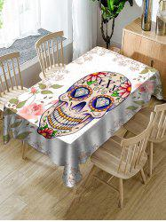 Halloween Skull Floral Print Fabric Waterproof Tablecloth -