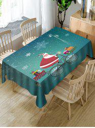 Christmas Santa Claus Gifts Print Fabric Waterproof Tablecloth -
