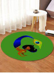 Woman Feather Printed Decorative Round Floor Rug -