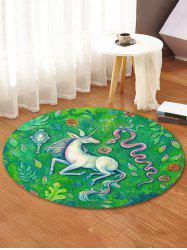 Unicorn Snake Printed Decorative Round Floor Rug -