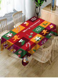 Christmas Patchwork Print Fabric Waterproof Tablecloth -
