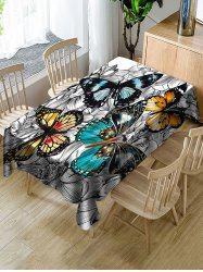 Butterfly and Flower Print Fabric Waterproof Tablecloth -