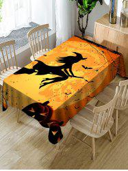 Halloween Moon Witch Print Fabric Waterproof Tablecloth -