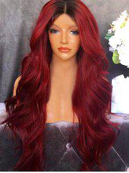 Long Center Parting Ombre Wavy Synthetic Party Wig -