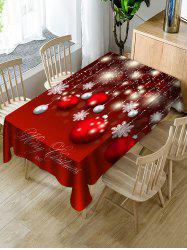Christmas Ball Snowflake Print Fabric Waterproof Tablecloth -