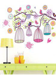 Flower Bird Tree Branch Removable Wall Sticker -