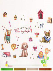 Love Dog Printed Removable Wall Sticker -