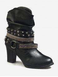 Studded Strap Wrap Ankle Slouch Boots -