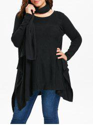 Round Neck Plus Size Asymmetrical Sweater with Scarf -