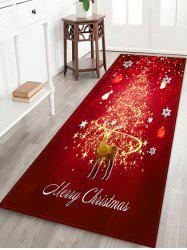 Christmas Snowflake Deer Printed Decorative Flannel Floor Mat -