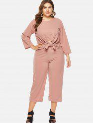 Front Knotted and Wide Leg Two Piece Suit -