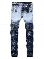Covered Zippers Pleated Motorcycle Jeans -
