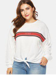 Front Knotted Plus Size Letter Print Sweatshirt -