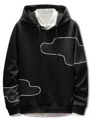 Irregular Patch Casual Drawstring Hoodie -