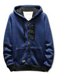 Casual Zipper Placket Rectangle Panel Embellished Hoodie -