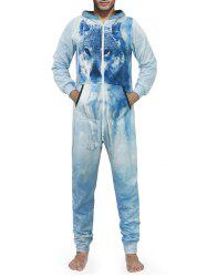 Zip Up 3D Wolf Print Hooded Jumpsuit -