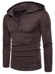 Lace Up Hooded Long Sleeve Sweater -