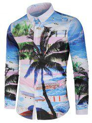 Coconut Tree and Beach Print Hidden Button Shirt -