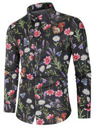 Flower and Butterfly Print Long Sleeve Shirt -