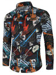 Musical Instrument Print Long Sleeve Shirt -
