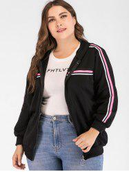 Striped Long Sleeve Plus Size Jacket -