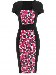 Cherry Print Cap Sleeve Bodycon Dress -