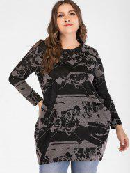 Plus Size Long Sleeve Printed T-shirt -