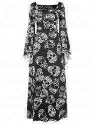 Halloween Skulls Print Long Sleeve Maxi Dress -