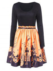 Halloween Print Fit and Flare Dress -