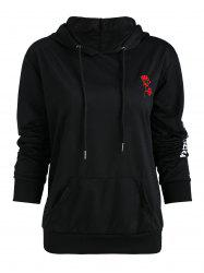 Rose Embroidered Letter Print Hoodie -