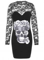 Halloween Skulls Print Lace Sleeve Bodycon Dress -