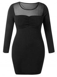 Plus Size Chain Mesh Panel Tight Dress -