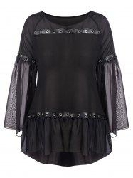 Plus Size Flare Sleeve High Low Mesh Blouse -
