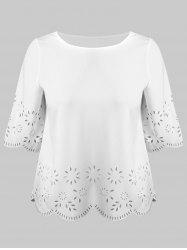 Plus Size Cutwork Scalloped Blouse -