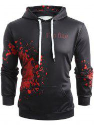 Halloween Inspired Spatter Letter Pattern Kanga Pocket Hoodie -