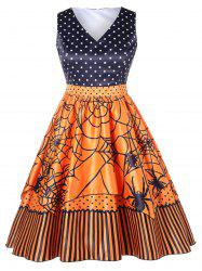 Polka Dot Plus Size Spider Print Halloween Vintage Dress -