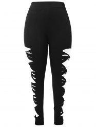 Plus Size High Waist Ladder Cut Out Leggings -