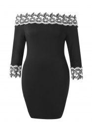 Plus Size Off The Shoulder Lace Applique Dress -