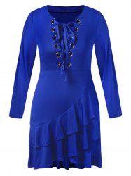 Plus Size Lace Up Flounced Midi Dress -