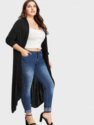 Collarless Plus Size Longline Coat -