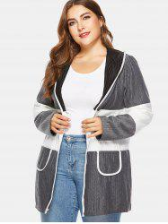 Color Block Plus Size Ribbed Hooded Coat -
