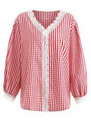 Lace Panel Plus Size Gingham Shirt -