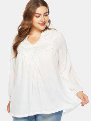 V Neck Plus Size Applique Blouse -
